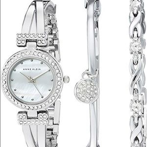 Women Crystal Accent Watch & Bracelets Set